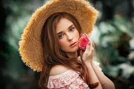 HD wallpaper: women, model, hat, flowers, depth of field, photography, redhead | Wallpaper Flare