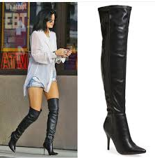 shoes kylie jenner boots black boots high heels boots black leather leather boots kylie jenner over