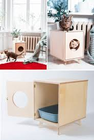 This modern litter box cover provides a stylish place for your cats and  doubles as a convenient side table.