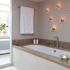 modern luxurious bathroom with marble splashback and neutral wall