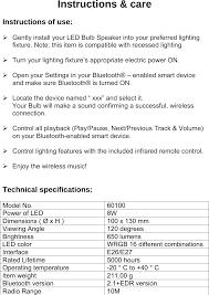 Led Bluetooth Light Bulb Speaker Blue Sky 60100 Led Bluetooth Light Bulb Speaker User Manual Blue