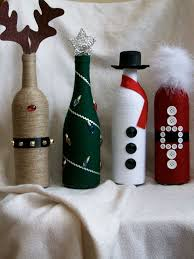 How To Decorate A Wine Bottle For Christmas Christmas decor wine bottles Wine Bottle Crafting Pinterest 69