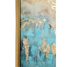 litton lane turquoise and gold abstract