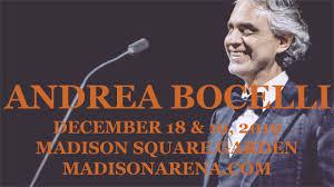 Andrea Bocelli Tickets 18th December Madison Square