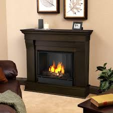 ventless gel fuel fireplace in dark walnut