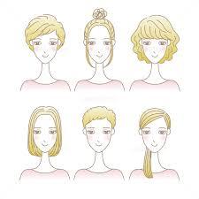女性の髪型イラストセット ショートヘア ミディアムヘア ロングヘア