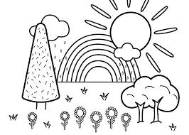 Disegni Facili Da Copiare Paesaggio Da Colorare Alberi E