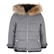 invest in winters to come with this puffer jacket from lili gaufrette this timeless coat comes in a grey padded polyester designed to keep your little one