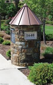 stone mailbox designs. Round Stone Mailbox With Copper Roof. Designs
