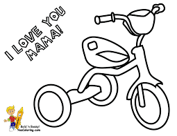 Small Picture Coloring Page For Mothers Day of Tricycle I Love You Mama You