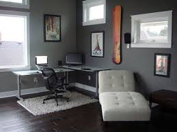 corner steel table for small home office design with gray painted wall interior color decor plus white lounge chair and black hardwood floor tiles and white