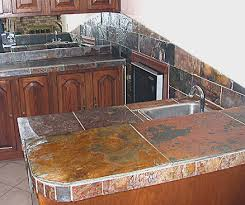 slate countertops in the form of tiles with diffe sizes