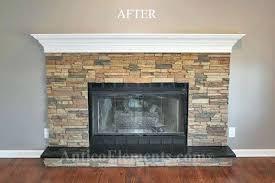 stone over brick fireplace remodeled fireplace refacing brick fireplace with stone veneer