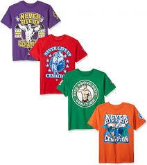 wwe little boys john cena 4 pack t shirt kelly green purple red orange m 5 6