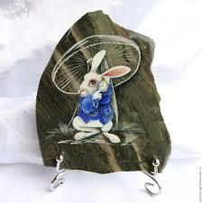 rock painting handmade livemaster handmade rabbit alice in wonderland panels made of