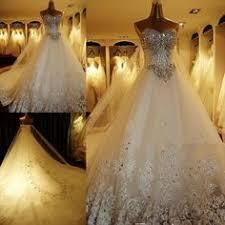rhinestone wedding dress. Luxury Rhinestone Wedding Dresses Bling Bling Beaded Crystal V neck