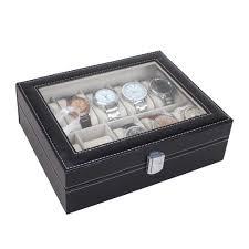 mens watch organizer promotion shop for promotional mens watch 2016 new leather 10 slots wrist watch display box storage holder organizer case luxury brand women men watch boxes