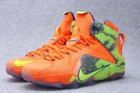 lebron james shoes 12 orange. newest nike lebron james 12 orange green basktball shoes w