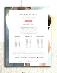 Photography Pricing Sheet Template Price List Guide Wedding ...