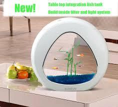 office fish tanks. Ecology Fish Tank Integration Filter LED Light System Mini Nano Office Home Table Top Aquarium Tanks O