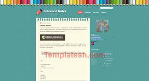 Coloured Notes Blogger Template Templatesh