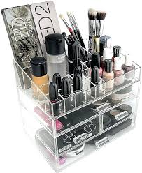 whole hot clear cube acrylic makeup organizer storage with upper drawer box grids a