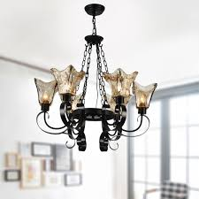 6 light black wrought iron chandelier with glass shades dk 8038 6