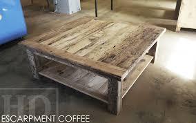 specs 48 x 48 cottage coffee table straight 4 x 4 windbrace beam legs bottom 1 grainery board shelf reclaimed hemlock threshing floor barnwood