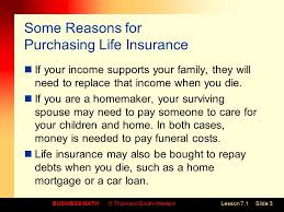 some reasons for purchasing life insurance