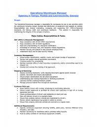 Warehouse Resume Job Description Sugarflesh