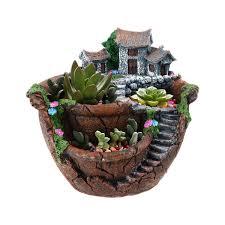 com ounona planter flower plant pots fairy garden pot with sweet house orange garden outdoor