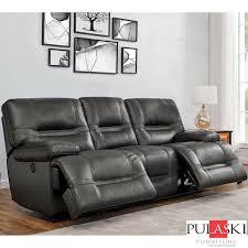pulaski tessa 3 seater grey leather
