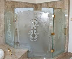 custom shower glass traditional filigree design etched glass