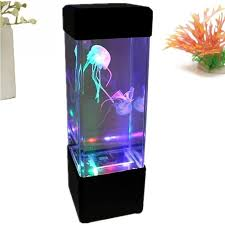 led desktop rgb changing fish aquarium tank lights relaxing bedside table motion night jellyfish lamp holiday