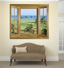 wim291 tropical golf course window view wall mural on golf wall art uk with tropical golf course window view wall mural faux window frame wall