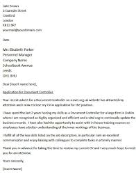 Uk Cover Letter Examples 18 For A Document Controller