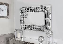 mirrored glass silver rectangular mirror 120x90 modern wall crystal frame large 1 of 2only 3 available