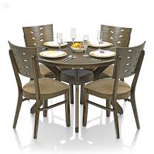 Kitchen Furniture Online India Buy Royaloak Sydney Dining Set With 4 Chairs Solid Wood Round