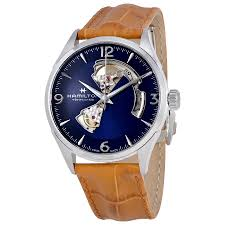 hamilton jazzmaster open heart blue dial automatic men s leather watch h32705541