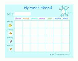 Week Chart My Week Ahead Printable Chart