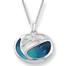 silver archibald knox style turquoise pendant necklace