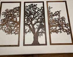 3 panel wooden tree wall art free shipping  on wall art wooden tree with 3 panel wall art etsy