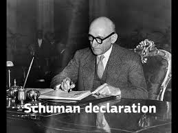 「1950 – Robert Schuman presents his proposal on the creation of an organized Europe,」の画像検索結果