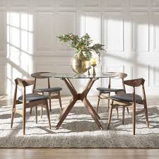 nadine walnut finish gl table top round dining set curved back chairs by inspire q