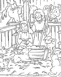 Christmas Nativity Scene Coloring Sheets Away In A Manger Coloring