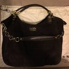 Coach Madison embossed suede large shoulder bag