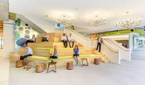 chelsea office space lounge. social platform lounge area and modern staircase to take you between floors chelsea office space