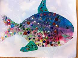 colorful painted paper fish craft for kids