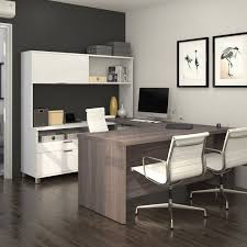 bestar pro linea u shaped desk with hutch 120880