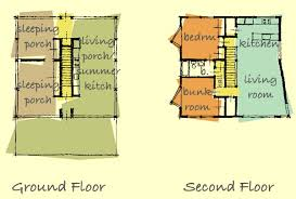 Catalog  Modern House Plans by Gregory La Vardera ArchitectUpstairs is a two bedroom  quot cabin quot    an open living dining kitchen area  The living area is under the raised angled portion of the roof and has a large